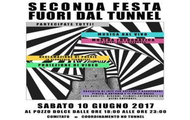 """II Festa No Tunnel: sabato 10 giugno ci riappropriamo di """"Pozzo Dolce"""" con musica e informazione"""