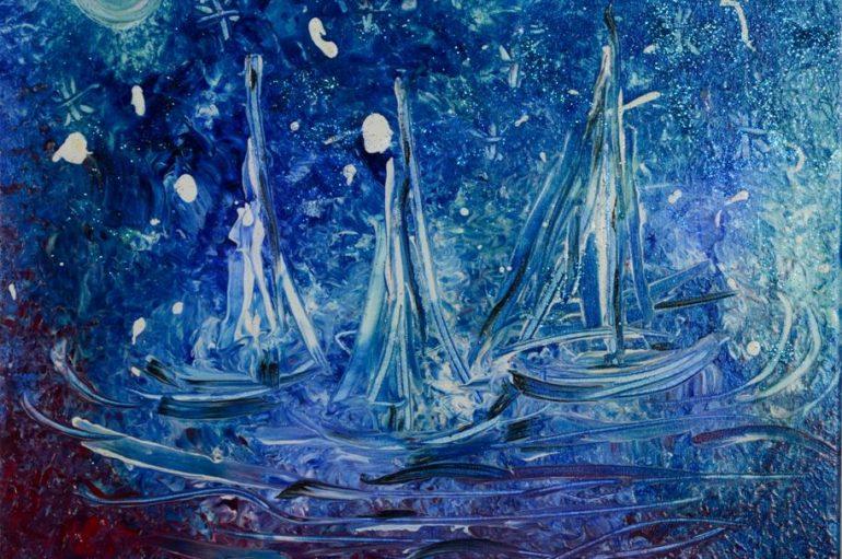 """Tela:  """"notte stellata"""" di Viviana De Rosa(giovane artista italiana)"""