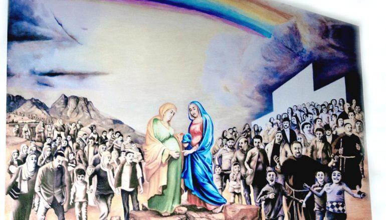 Dipinto raffigurante la visita di Maria ad Elisabetta di Giuseppe La Serra