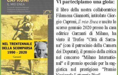 """Libri: """"CAPRONI Il mio Enea"""" di Filomena Giannotti"""
